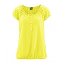 T-shirt en chanvre manches courtes col rond femme jaune