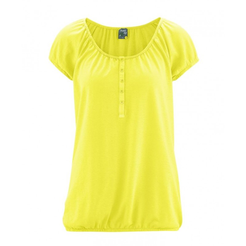 Yellow Women's short-sleeved round-neck hemp t-shirt