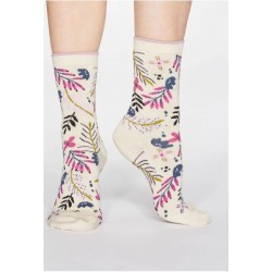 Cream socks feature an exclusively designed print