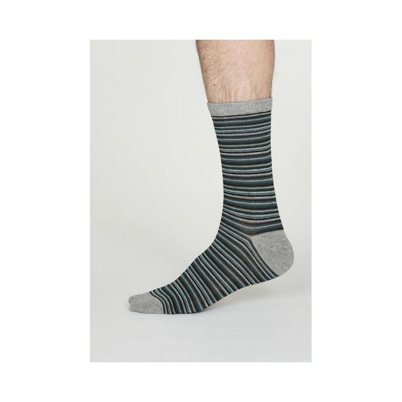 Bamboo Multistripe grey socks for men