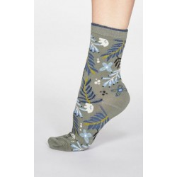 Green socks feature an exclusively designed print