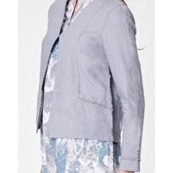 Veste blazer en chanvre taupe pour femme