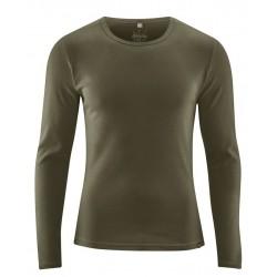 T-shirt en chanvre et coton bio manches longues: taupe ou vert