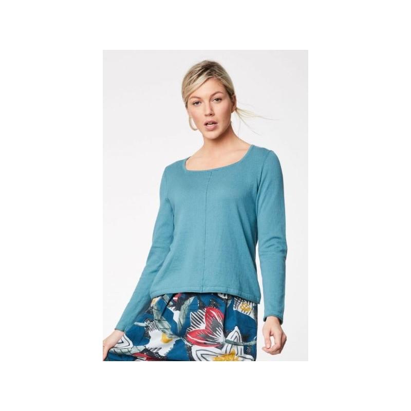 Pull en coton bio et laine forme carrée