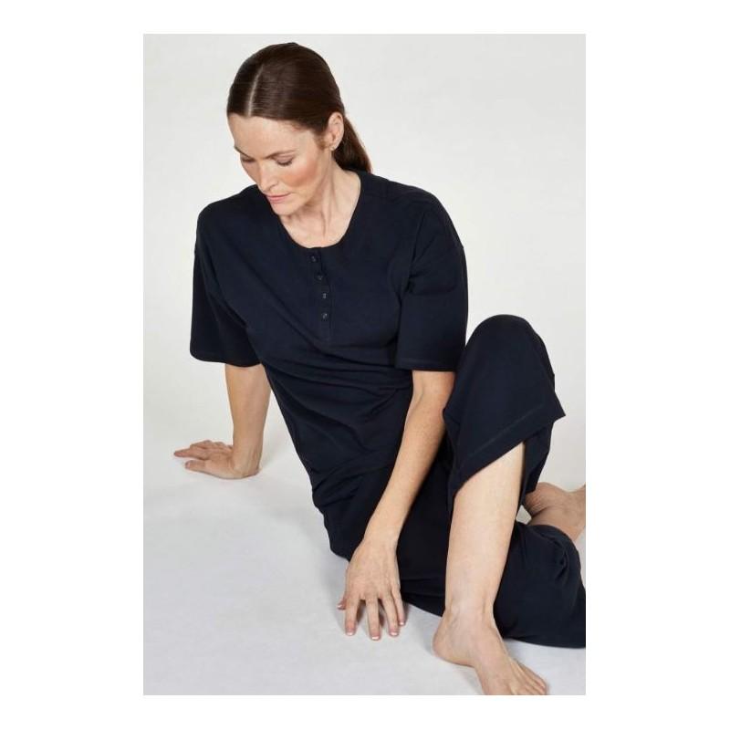Pyjama femme en Coton biologique certifié GOTS bleu