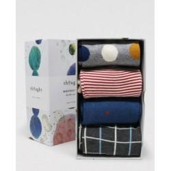 Classic Spots & Stripes Bamboo 4 Sock Gift Box