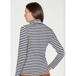 Organic Cotton Striped Jersey Roll Neck Top