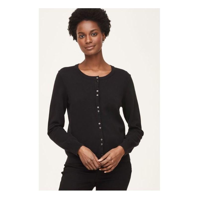 Organic Cotton Button Front Basic Cardigan : Black or Navy